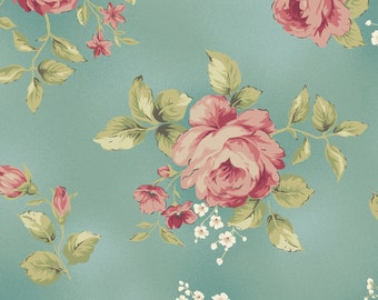 """Welcome Home - LAST PIECE 1 y 23"""" - Maywood Studio by Jennifer Bosworth - Medium floral on Light blue/teal"""
