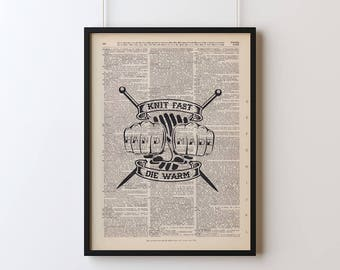 Knit Fast Die Warm Poster, Screen Printed Dictionary Art, Vintage Dictionary Print, Art Print, Wall Decor, Knit Print, Screen Print Poster