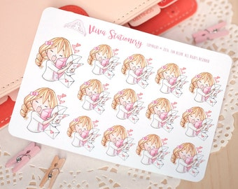 Kawaii Girl Happy Mail Stickers Version 1 ~Valerie~ For your Life Planner, Diary, Journal, Scrapbook...