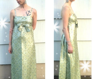 Vintage 60s Green and Silver Lame Metallic Brocade Maxi Prom Dress Party Dress Print Small 4 - 6