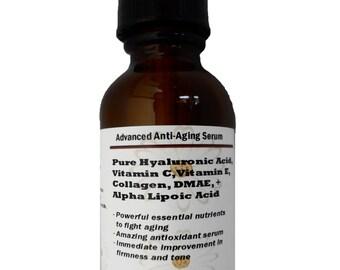 Advanced Anti-Aging Serum with Pure Hyaluronic Acid, Vitamin C, Vitamin E, Collagen, DMAE, Alpha Lipoic Acid