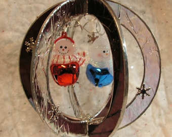 Happy Snowman Pair, Jingle Bells and Snowflakes, Handmade Whirl in Stained Glass Suncatcher
