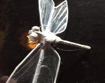 Stained glass dragonfly, clear textured glass, dragonfly art