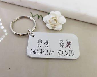 Problem solved Key Chain, divorce keyring, newly single keychains, Depression Gift, best friend gift, separation gift idea, ctrl alt delete