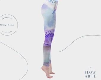 Circus leggings, aerial hoop leggings, hula hoop, yoga leggings, high waist leggings, festival clothing, lavender leggings, flowarte