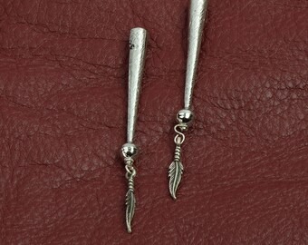 Bolo tip zinc cast , feather ends, sold package of 2 each