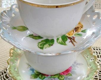 Two 2 Mixed Sets Cups/Saucers Vintage Generous Germer Porcelanas Cups Gold Trim & Hand Painted Lefton Porcelain Saucers Lattice Lace Rims
