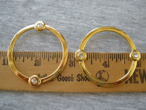 Rhinestone & Gold color metal flat O rings Round 38mm opening 1.75 ...