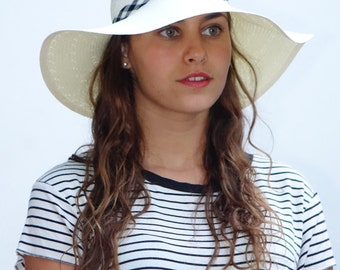 Wide brim white hat , Custom hats , Sun hat  for women , decorated with a black & white ribbon.