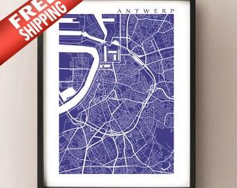 Antwerp Map Print - Antwerpen, Anvers Belgium Poster