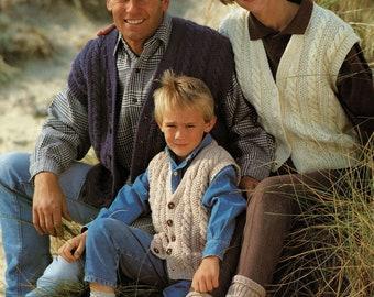 Aran V-Neck Waistcoats or Vests for all the Family, Vintage Knitting Pattern, PDF, Digital Download