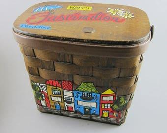 Vintage Caro Nan Basket Purse Painted 1982 Shops St. Louis Cute Wooden Box Lettering Woven