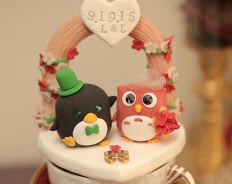 owl and penguin Wedding Cake Topper-love owl and penguin ---k511