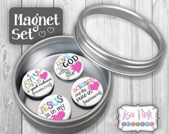 Magnet Set, Christian Magnet Sets, Magnets, Christian Magnets, Refrigerator Magnets, Christian Refrigerator Magnets, Inspirational Gift