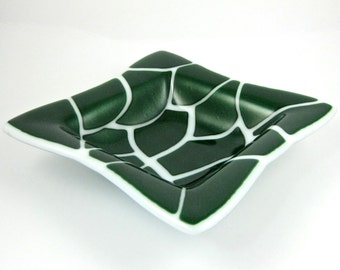 Sparkling Green and White Fused Glass Dish - Glass Serving Bowl