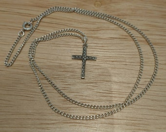 Vintage sterling silver marcasite cross and chain