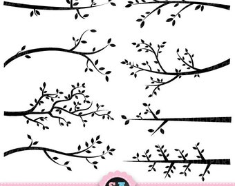 "Branch Silhouettes Clipart ""BRANCH SILHOUETTES"" clip art pack Tree Branchs,Branchs,Silhouettes,Branch and Leave, Instant Download Pg001"