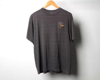vintage 90s embroidered CHEETAH wildlife safari heather BLACK winston, OREGON t-shirt made in usa