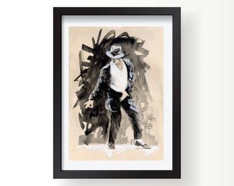 Michael Jackson retro MJ Office wall art print, Posters and Prints, Office print
