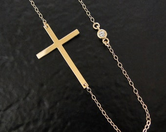 Gold Sideways Cross Necklace With Genuine Diamond, 14K Yellow, White, or Rose Gold
