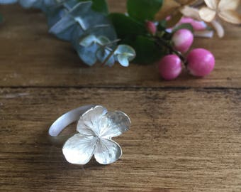 Sterling silver ring, sterling silver hydrangea flower ring, a beautiful statement christmas gift