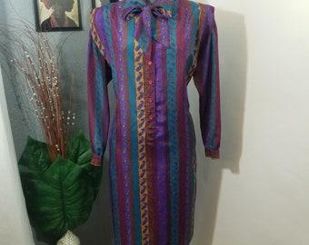 Vintage Dress, Schrader,Day Dress, Paisley Print, Purple, Size 14