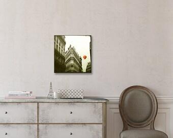 Wood Photo Block, Paris photography, Red Balloon in Paris, ready to hang, wall art, crimson, romantic, nursery, wood art, wood mounted print