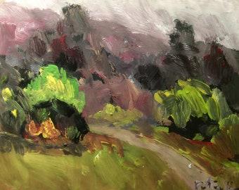 Peinture de paysage, chemin à travers Prairie, art expressionniste originale, Russ Potak