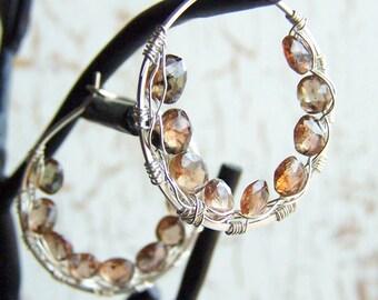 Pink Tan Gemstone Earrings, Andalusite, Sterling Silver Hoops, Brown Gemstone