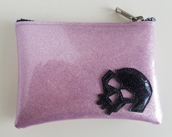 Coin purse light pink metalflake vinyl with black skull