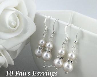 Set of 10 Bridesmaid Earring Dangle Earrings Gift for Her Drop Earrings Bridesmaid Gift for Her Maid of Honor Gift Wedding Earrings