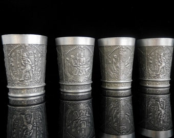 Pewter Shot Glasses, Tin Cups, GEKRA, Set of 4 / Mid Century Bar Cart Accessories