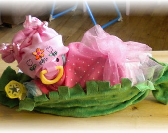 """Diaper Cake """"Sweet Pea In A Pod"""" Baby Shower Gift"""