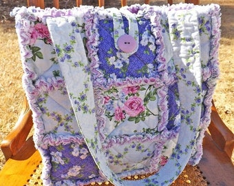 On Sale Purple Flowers Rag Tote - Rag Quilt Tote - Floral - purple, green - Handmade Tote - Purple Rag Tote - Gift for Her