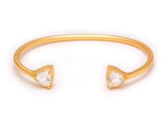 Gemstone Cuff Bracelet - Gold Gemstone Bangle - Clear Quartz Cuff - Gold Cuff