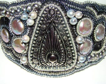 Black And White Bead Embroidered Cuff, Coin pearls,Button and Freshwater Pearls Wow!!!
