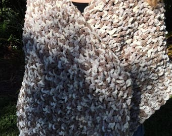 Handmade in America Crochet Bohemian Wrap Shawl Neutral Colors Chenille Style Washable Gifts for Her