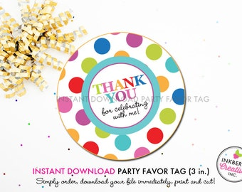 Jump, Play and Bounce Polka Dot - Printable 3 inch Birthday Party Favor Tags - Instant Download PDF File