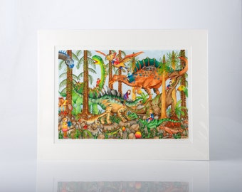 The Prehistoric Playground Limited Edition Print by Jenny Laidlaw, children's wall art