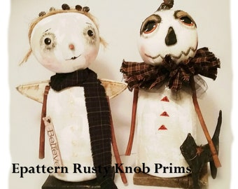 Stump Doll Pattern/ Primitive Cloth Doll Pattern/  Wynter White Pumpkin and Snow Angel/  Epattern / Instant Download/ Rag Doll Pattern