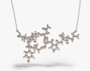 Oxytocin 3D necklace - Sterling silver - Neuropeptide - hormone- Science jewelry