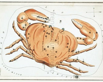 antique lithograph cancer constellation
