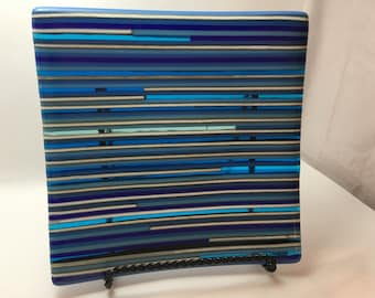 Blue fused glass strip plate