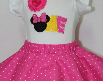 1st birthday outfit, Minnie Mouse, Disney, birthday, baby girl, personalized, custom, handmade, pink, first birthday, 1st birthday, bodysuit