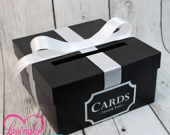 Card Holder Box with Sign in Black & White -  Gift Money Box - Wedding, Bridal Shower, Birthday, Baby Shower, Engagement