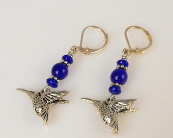 SALE! Hummingbird Charm Earrings. Blue Earrings. Handmade Jewelry