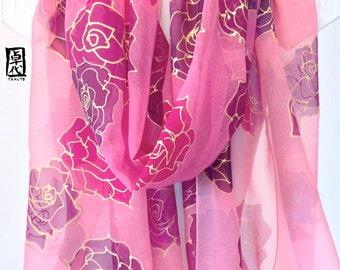 Japan Scarf, Silk scarf Pink, Hand Painted Silk Shawl Wrap, Silk Chiffon Scarf, Bridal Silk Shawl, Kimono scarf, Pink Floating World Roses