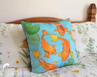 Koi Carp Illustration Throw Cushion, Pillow, Cushion Cover, Decorative Cushion, Home Decor, Koi Gift