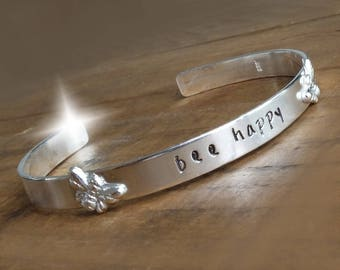 Bangle with Bees, Bee Happy Bangle, Bee Happy Bracelet, Personalised Silver Bangle, Bee Jewellery, Bracelet with Bumble Bee, Manchester Bees