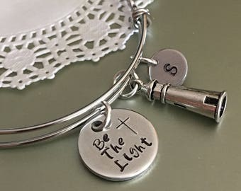 Be the light bangle,Lighthouse bracelet,Lighthouse charm,Be the light charm,Initial charm,Personalized,Gift for her,Charm bracelet,Bangles